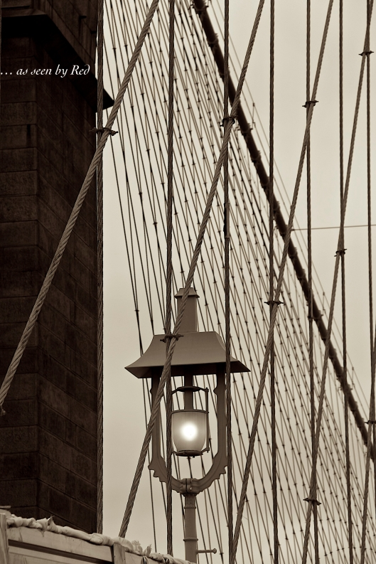 Crossing the Brooklyn Bridge, NY