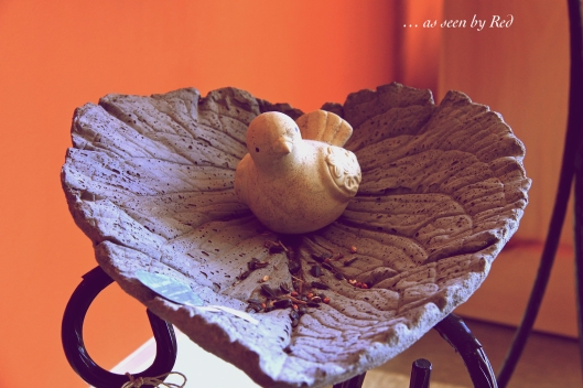 Artisan crafted concrete leaves.  Just love this beautiful birdbath!
